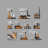 Factory icons. industrial factory icons on gray background