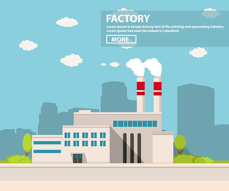 Industrial factory in flat style a vector an illustration.Plant or Factory Building.road tree window facade.Manufacturing factory building.