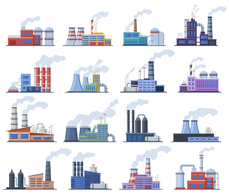 Industrial factory. Manufacturing building, chimney pipe factory, warehouse, power station, factory architecture exterior vector illustration set