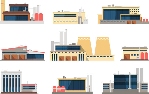 industrial factory, power plant and warehouse buildings. industrial construction vector flat icons - warehouse stock illustrations