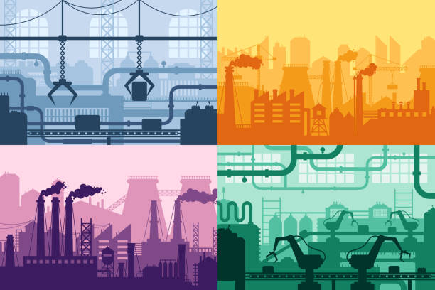 Industrial factory silhouette. Manufacture industry interior, manufacturing process and factories machines vector background set Industrial factory silhouette. Manufacture industry interior, manufacturing process and factories machines. Machine factory industries, refineries or gas pollution vector background set manufacturing stock illustrations