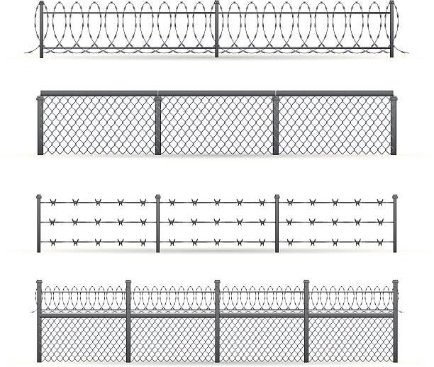 illustrations, cliparts, dessins animés et icônes de industrial clôtures - prison