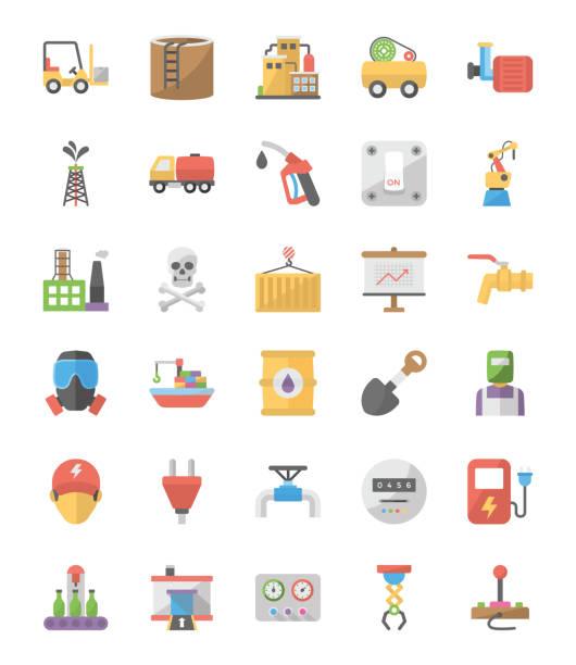 ilustraciones, imágenes clip art, dibujos animados e iconos de stock de colección de iconos de vector plana industrial - amperímetro