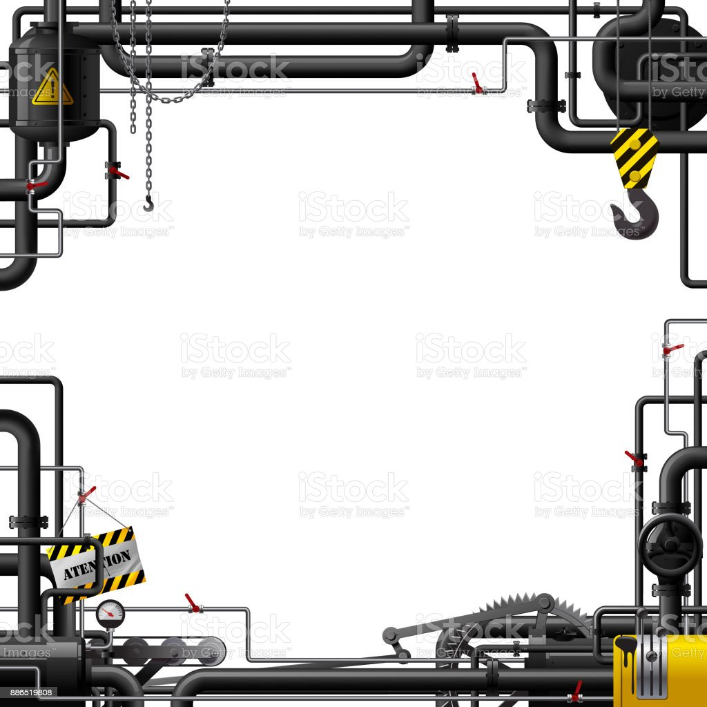 Industrial Frame With Black Pipes And Machine Gears Stock Vector Art ...