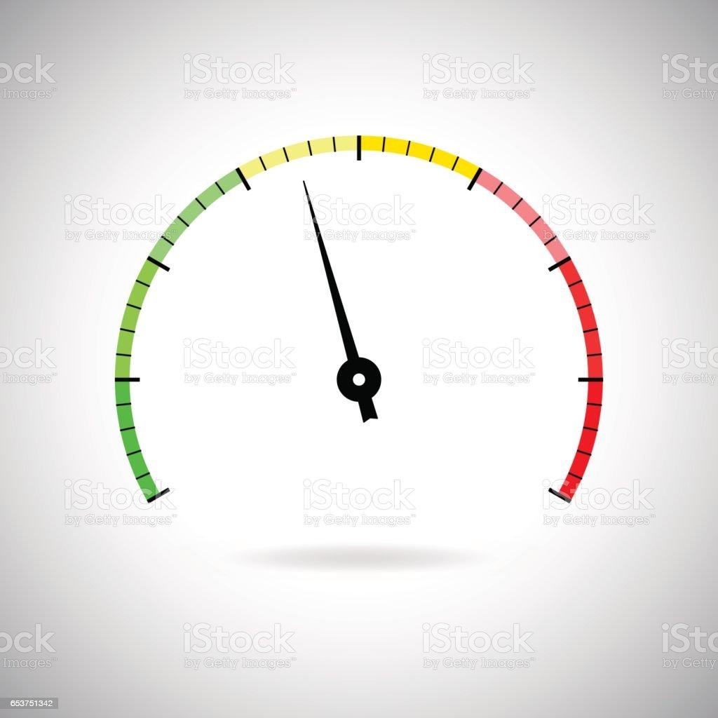 Industrial gauge colored scale vector art illustration