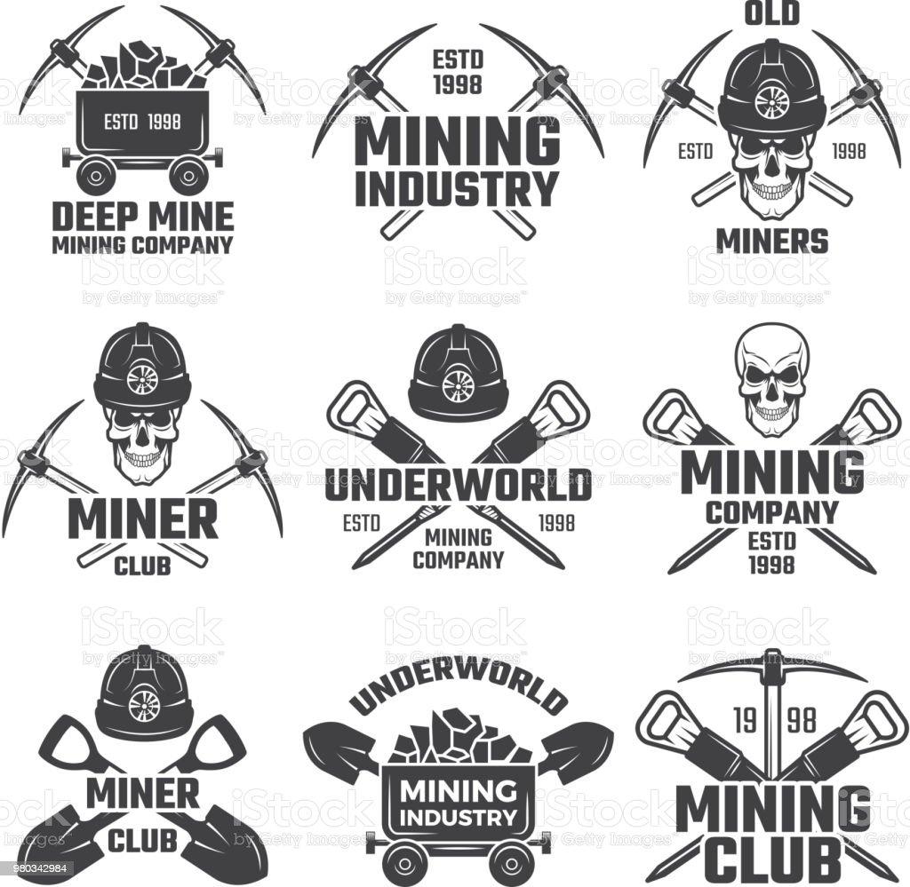 Industriella guld och olika mineral gruvdrift. Svart etiketter vektor set - Royaltyfri Arbeta vektorgrafik