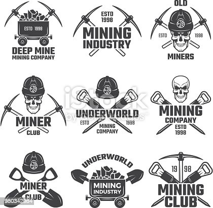 Industrial gold and various mineral mining. Black labels vector set. Mine mineral emblem, underworld club, company mining extraction illustration