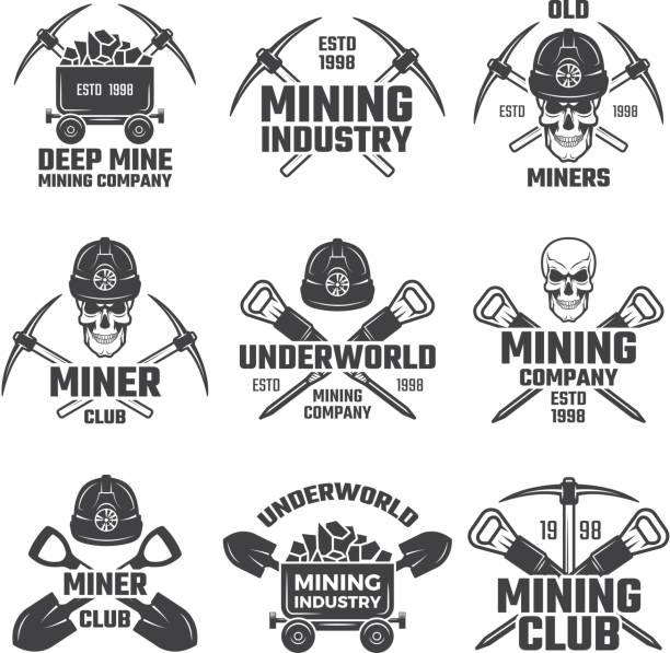 illustrazioni stock, clip art, cartoni animati e icone di tendenza di oro industriale e varie miniere minerarie. set vettoriale etichette nere - raccogliere frutta