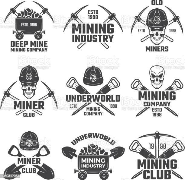 Industriella Guld Och Olika Mineral Gruvdrift Svart Etiketter Vektor Set-vektorgrafik och fler bilder på Arbeta
