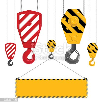 Industrial hooks collection. Metal crane hook with cables isolated on a white background. Industrial hook holding frame. Vector illustration.