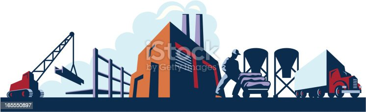 A retro-feel, high contrast vector illustration showing various industries like construction, manufacturing, and trucking. A working man is using a handcart to move bags of cement in front of a background featuring a crane, a construction site, a smoke-billowing factory and a semi.