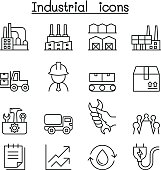 Industrial icon set in thin line style