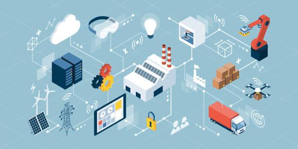 przemysłowy internet rzeczy i innowacyjna produkcja - produkować stock illustrations