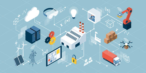 Industrial internet of things and innovative manufacturing Industrial internet of things, innovative manufacturing and smart industry: isometric network of concepts augmented reality sustainable stock illustrations