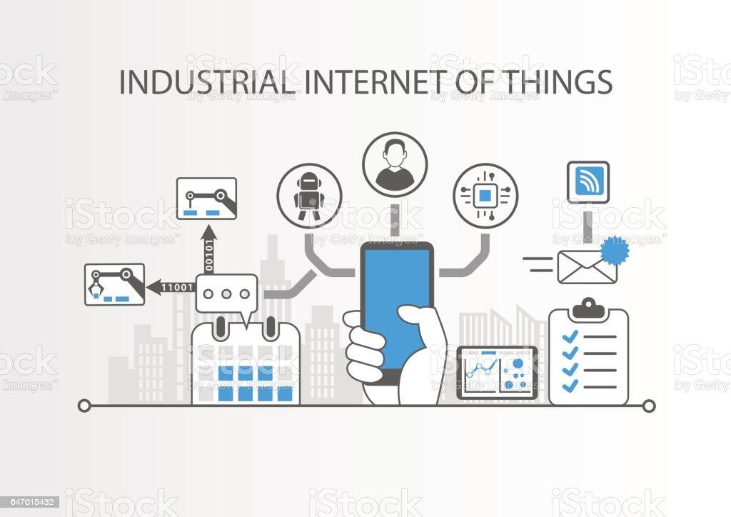 Internet industrial concepto de cosas - ilustración de arte vectorial