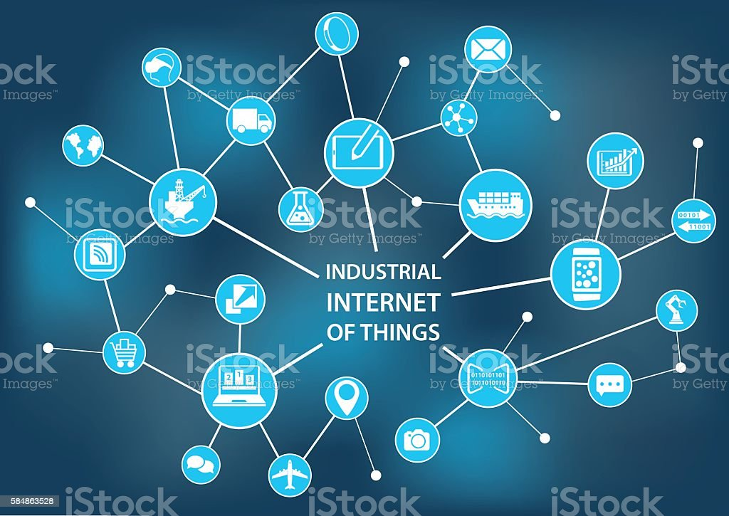 Industrial internet of things / industry 4.0 concept vector art illustration