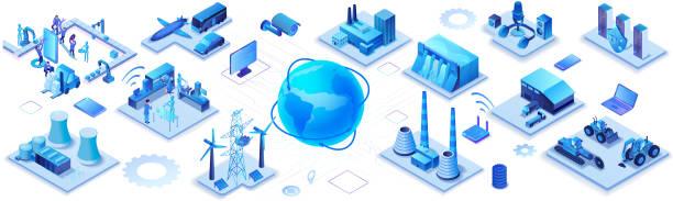 Industrielles Internet der Dinge Infografik horizontales Banner, blaues Neonkonzept mit Fabrik, Elektrizitätswerk, Globus 3d isometrisches Symbol, intelligentes Transportsystem, Bergbaumaschinen, Datenschutz – Vektorgrafik