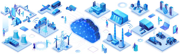 Industrial internet of things  infographic horizontal banner, blue neon concept with factory, electric power station, cloud 3d isometric icon, smart transport system, mining machines, data protection vector art illustration