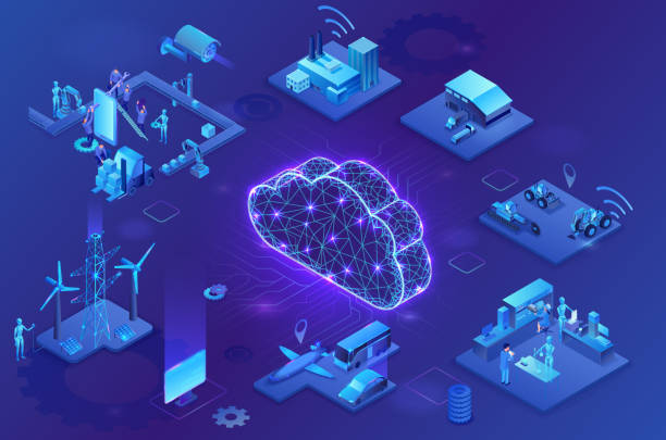 Industrial internet of things  infographic illustration, blue neon concept with factory, electric power station, globe 3d isometric icon, smart transport system, mining machines, data protection vector art illustration