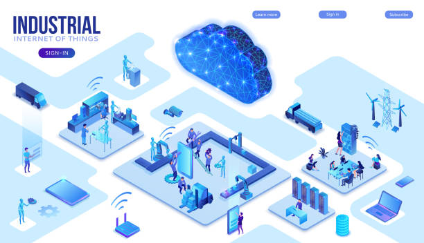Industrial internet of things  infographic illustration, blue neon concept with factory, electric power station, cloud 3d isometric icon, smart transport system, mining machines, data protection vector art illustration
