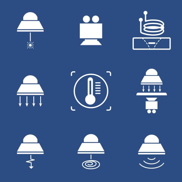 industrielle lampe-symbol - infrarotfotografie stock-grafiken, -clipart, -cartoons und -symbole