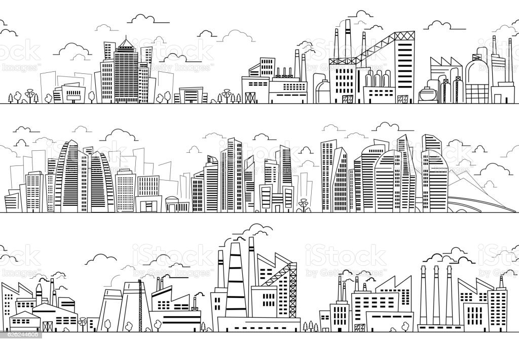 Industrial landscape and hand drawn cityscape vector art illustration