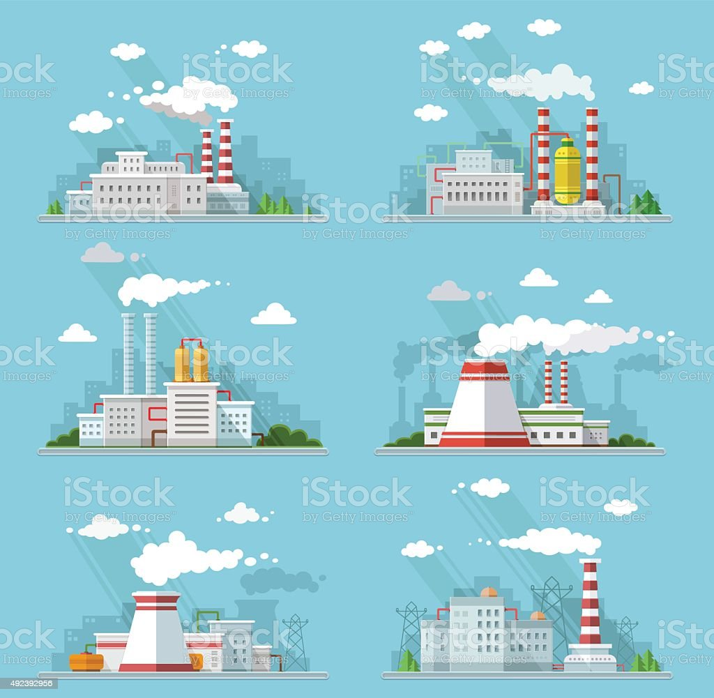 Industrial landscape set. The nuclear power plant and factory flat vector art illustration