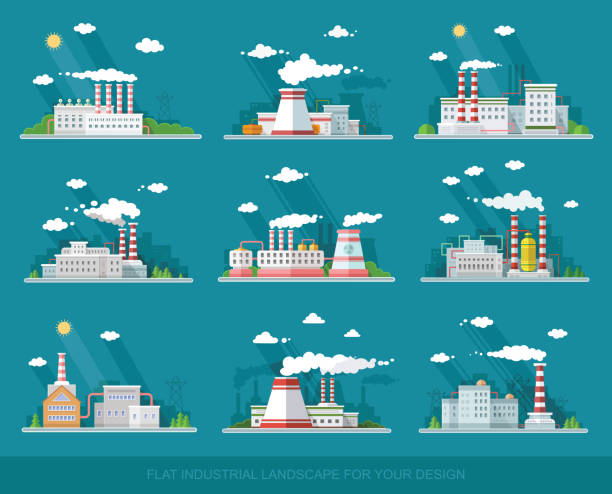 Industrial landscape set. The nuclear power plant and factory on the background of the city.Vector flat illustration Industrial landscape set. The nuclear power plant and factory on the background of the city.Vector flat illustration power station stock illustrations