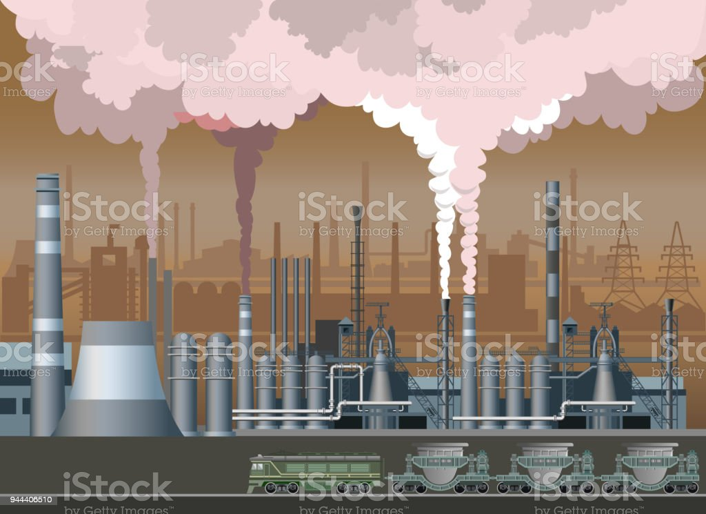 Industrial landscape vector vector art illustration