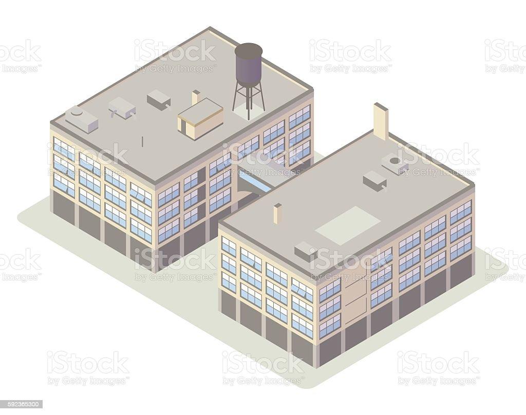 Industrial loft buildings illustration vector art illustration