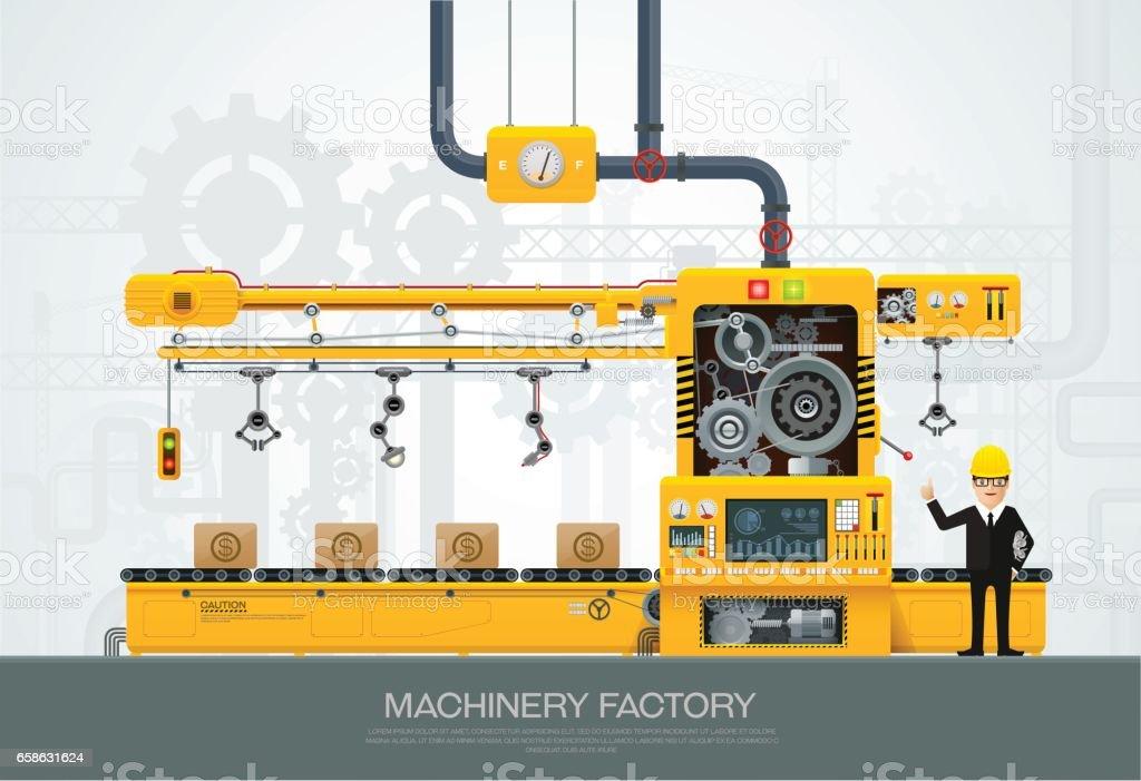 Industrial machine Factory construction equipment engineering vector vector art illustration