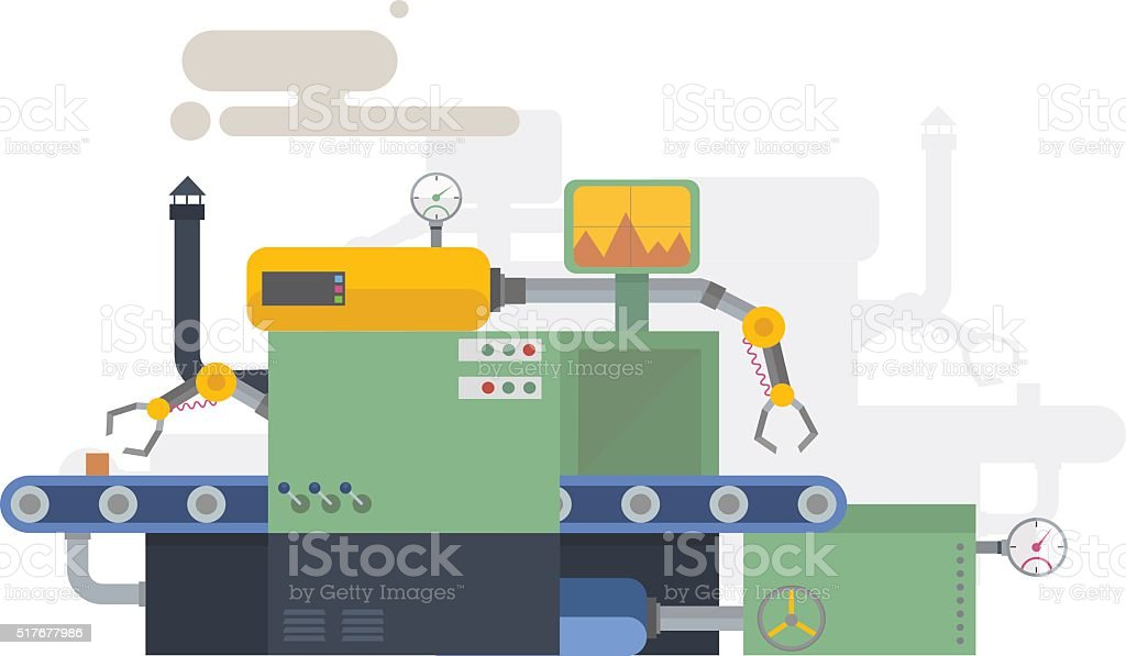 Industrial machine in flat style. Factory construction equipment, engineering illustration. vector art illustration