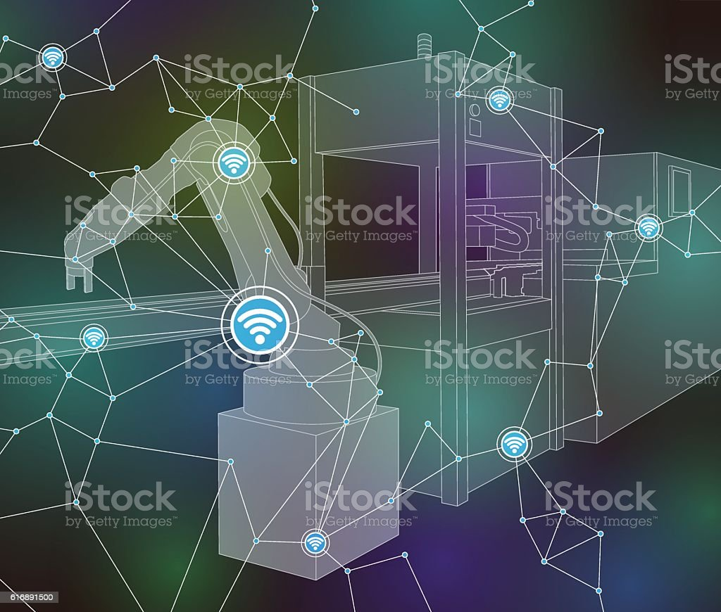 industrial machinery and robotic arm, wireless network vector art illustration