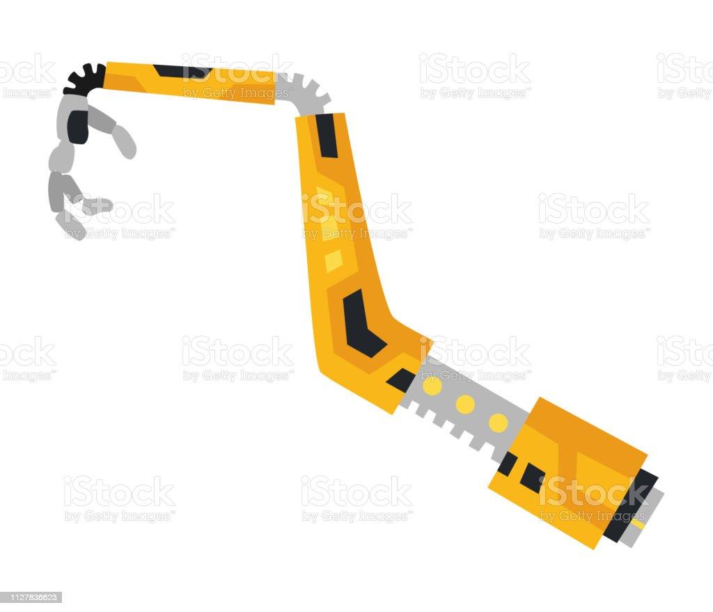 Industrial Mechanical Robot Arm Vector Icon Yellow Robotic