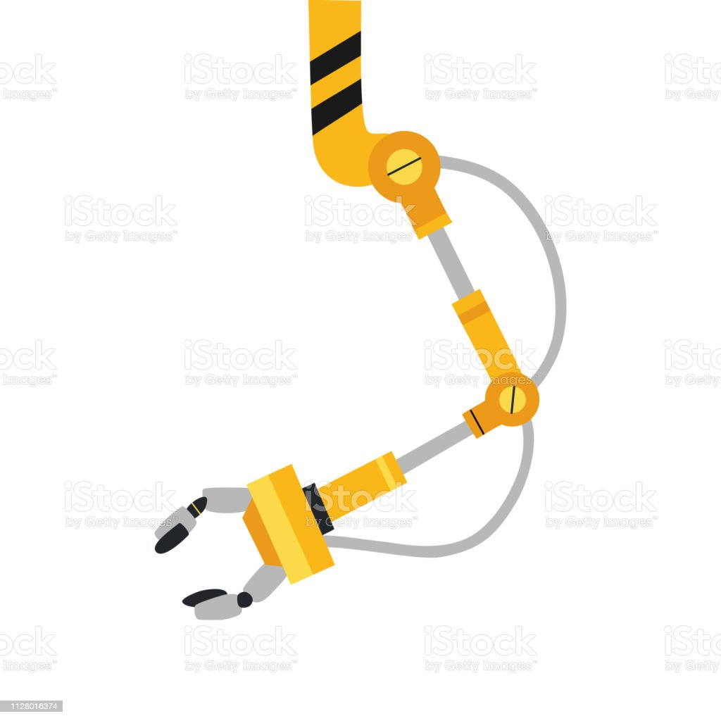 Industrial Mechanical Robot Arm Vector Icon Yellow Robotic Arm Stock