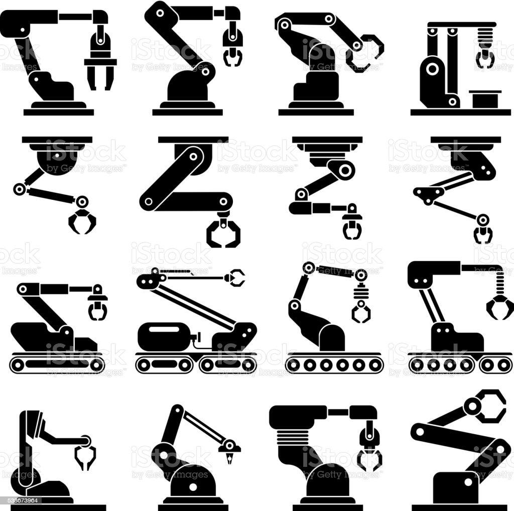 Industrial mechanical robot arm vector icons vector art illustration