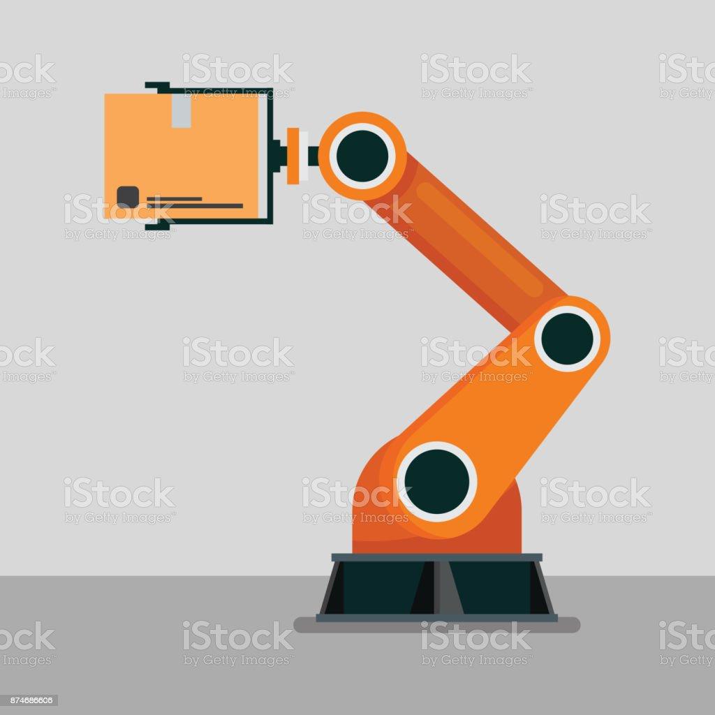 Industrial mechanical robotic arm vector art illustration