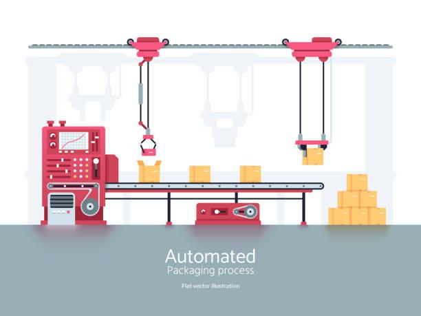 illustrations, cliparts, dessins animés et icônes de machine de conditionnement industriel avec illustration vectorielle de convoyeur chaîne de production - infographie industrie manufacture production