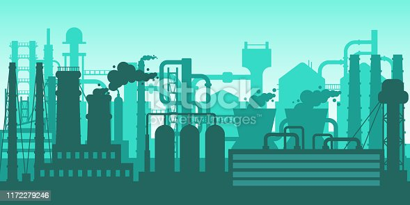 Industrial plant manufacturing, factory silhouette exterior, industrial industry concept. Gas, helium plants with pipe system and silhouettes of buildings, manufacturing process vector illustration