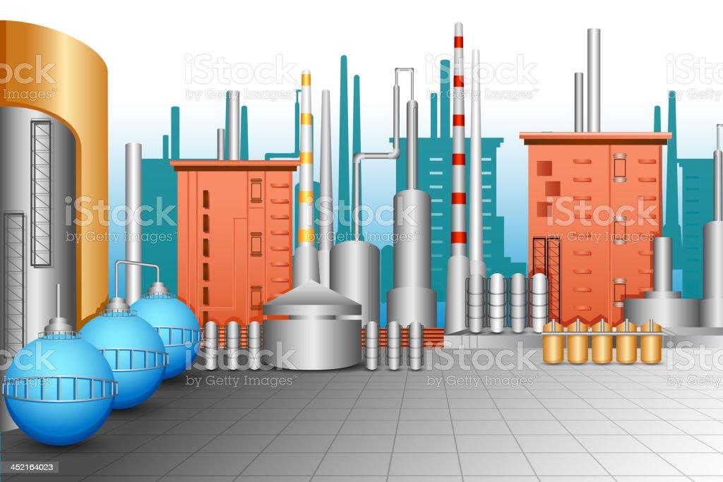 Industrial Plant vector art illustration