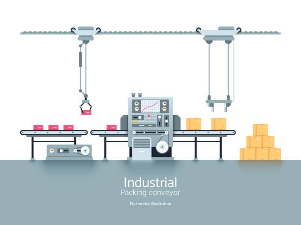 Industrial production factory conveyor flat vector illustration vector art illustration