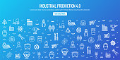 Industrial production index outline style web banner design. Line vector icons for infographics, mobile and web designs.