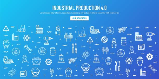 illustrations, cliparts, dessins animés et icônes de indice de production industrielle contour style web banner design - infographie industrie manufacture production