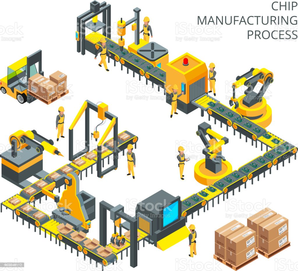 Industrial production of computer parts. Machinery tools for automation processes industrial production of computer parts machinery tools for automation processes - immagini vettoriali stock e altre immagini di ambiente royalty-free