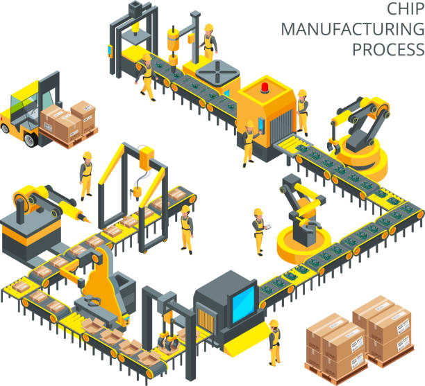 Industrial production of computer parts. Machinery tools for automation processes vector art illustration