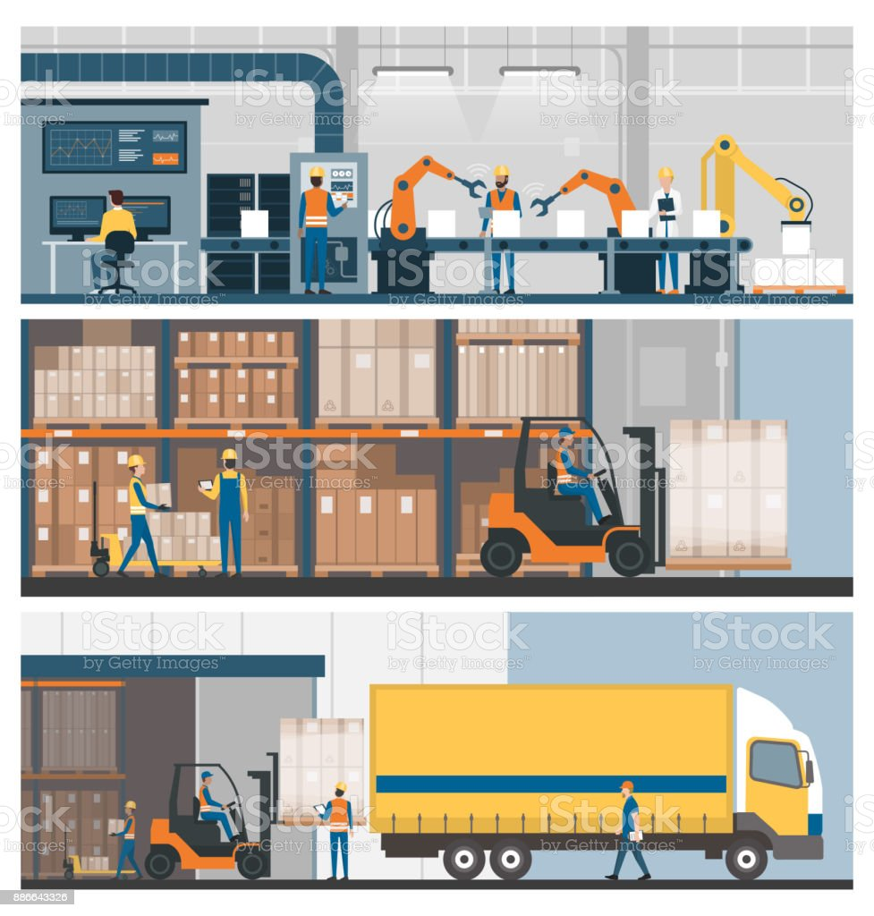 Industrial production, warehousing and logistics royalty-free industrial production warehousing and logistics stock illustration - download image now