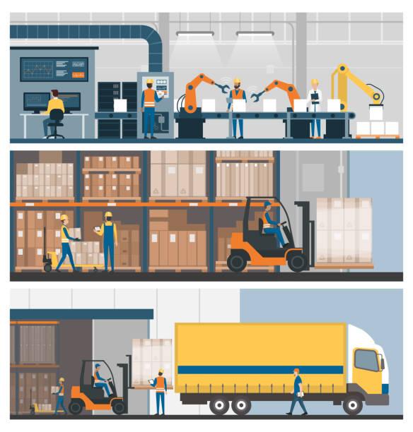 produkcja przemysłowa, magazynowanie i logistyka - produkować stock illustrations