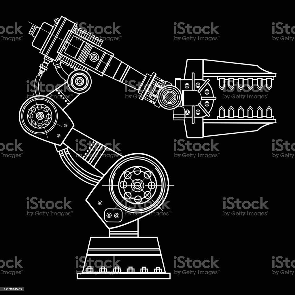 Industrial robot hand vector image on the isolated background stock industrial robot hand vector image on the isolated background royalty free industrial robot hand vector malvernweather Images
