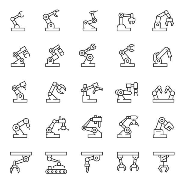 robot przemysłowy, zestaw ikon. mechaniczne hydrauliczne ramię robota do produkcji, ikony liniowe. edytowalny obrys - produkować stock illustrations