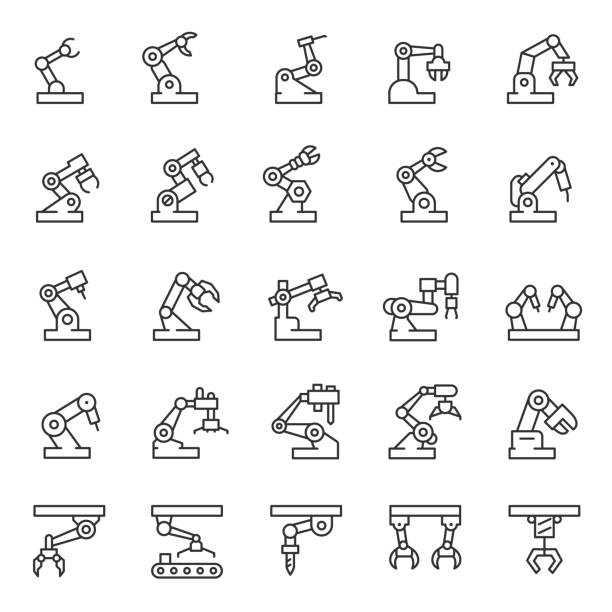 Industrial robot, icon set. Mechanical hydraulic robotic arm for manufacturing, linear icons. Editable stroke Industrial robot, icon set. Mechanical hydraulic robotic arm for manufacturing, linear icons. Line with editable stroke manufacturing stock illustrations